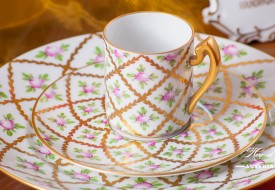 Sevres Roses-SPROG Mocha Cup and Saucer - Herend Porcelain