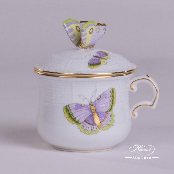 Cream Cup with Butterfly Knob 385-0-17 EVICTP1 Royal Garden Green Butterfly pattern. Herend fine china hand painted. Tableware