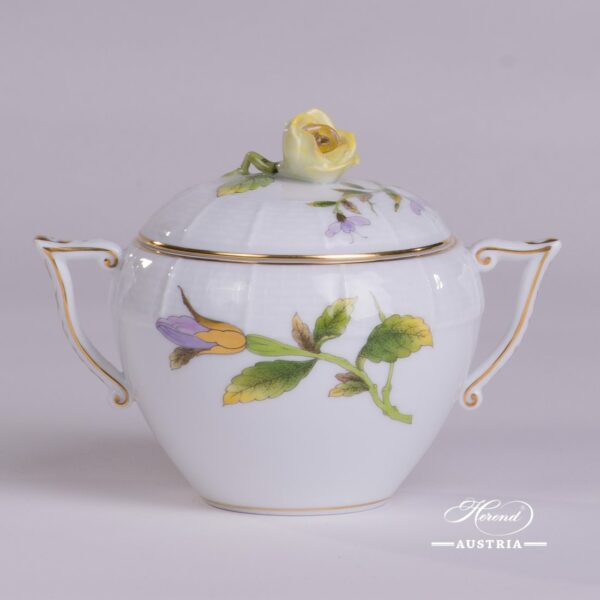 Sugar Basin w. Rose Knob 472-0-09 EVICTF1 Royal Garden Green Flower pattern. Herend fine china hand painted. Tableware