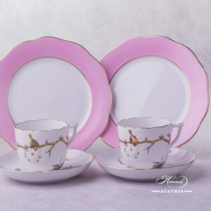 Dream Garden Coffee Cup and Saucer 20706-0-00 REJA and Dessert Plate 20517-0-00 CP6S Herend porcelain