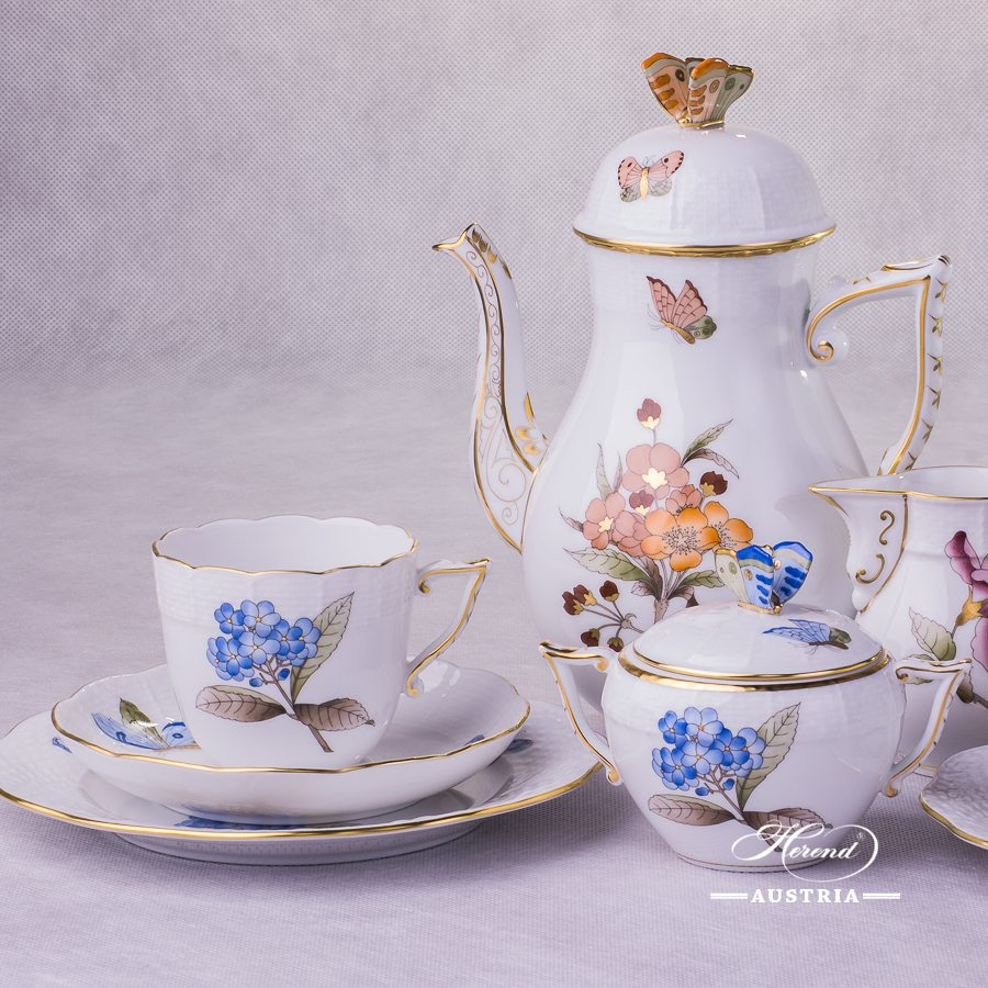 Victoria Grande Coffee-Set for 2 Persons - Blue, Pink, Orange flowers - Herend Porcelain