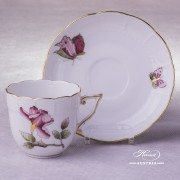 Victoria Grande Coffee Cup with Saucer 706-0-00 VICTMC-Pink Herend porcelain