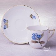 Victoria Grande Coffee Cup with Saucer 706-0-00 VICTMC-Blue Herend porcelain