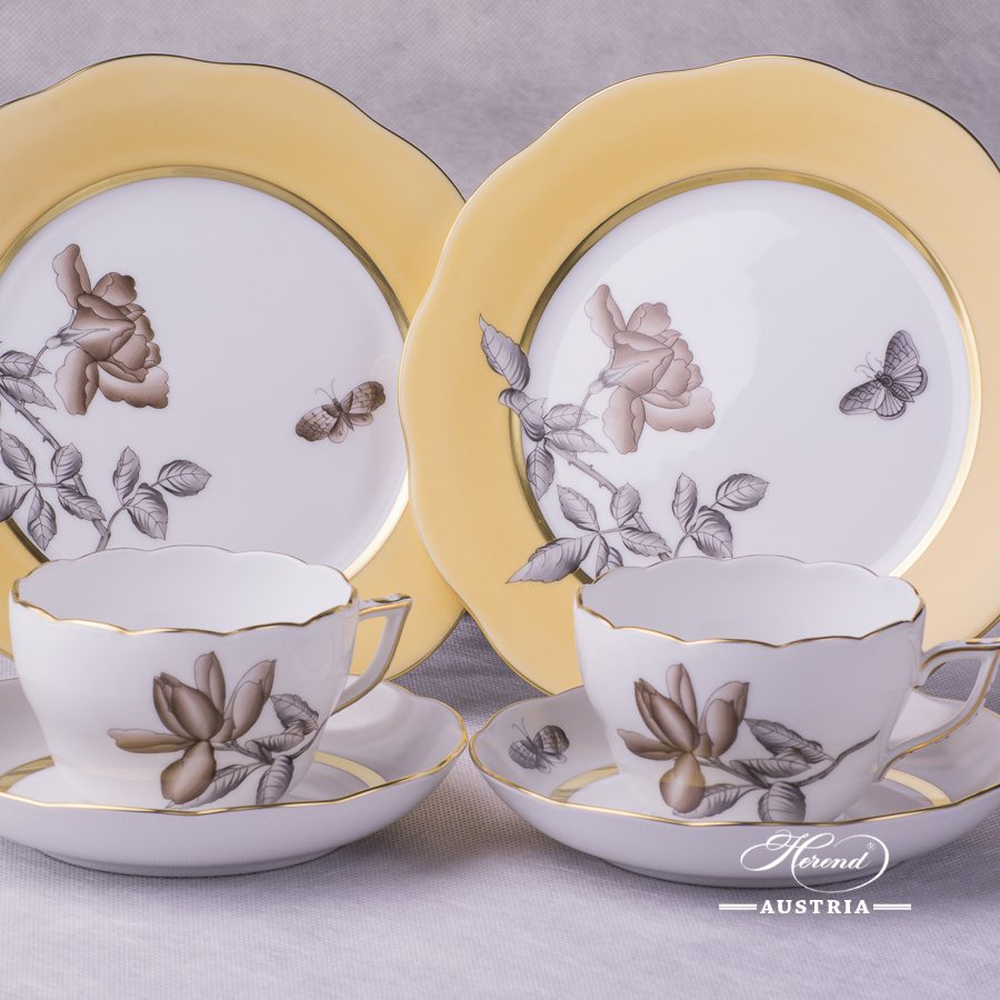 Victoria Grande VICTMC Tea Cup and Saucer 20730-0-00 with Dessert Plate 20517-0-00 Herend porcelain