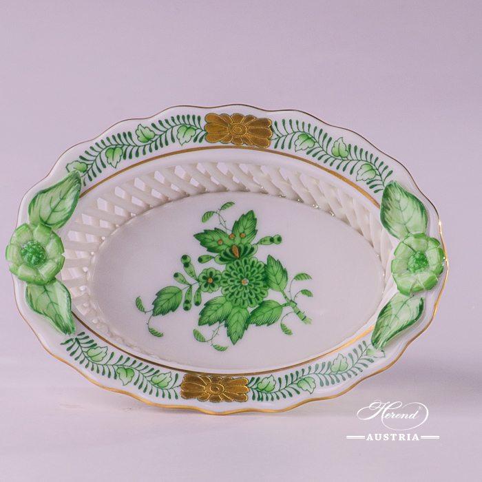Apponyi-Green Basket - 7381-0-00 AV - Herend Porcelain