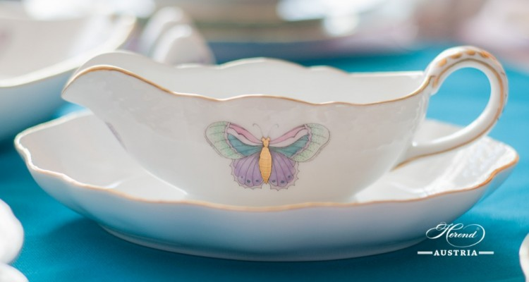 Sauce Boat w. Oval Dish 218-0-00 and 212-0-00 EVICTP2 Royal Garden Turquoise Butterfly pattern. Herend fine china  hand painted. Tableware