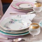 Dinner Set for 2 Persons - Herend Royal Garden Turquoise Flower EVICTF2 pattern. Herend fine china hand painted. Tableware