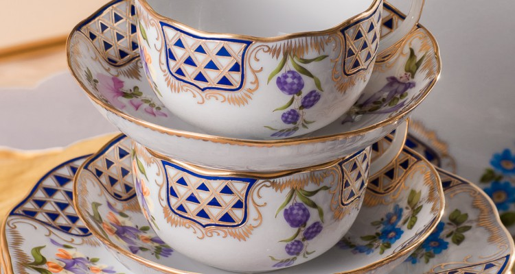 Mosaic and Flowers-MTFC Tea Cup and Dessert Plate - Herend Royal Porcelain