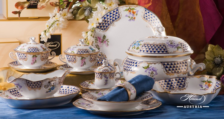 Dinner Set for 4 Persons - Herend Mosaic and Flowers MTFC pattern. Herend fine china hand painted. Tableware and Dinnerware