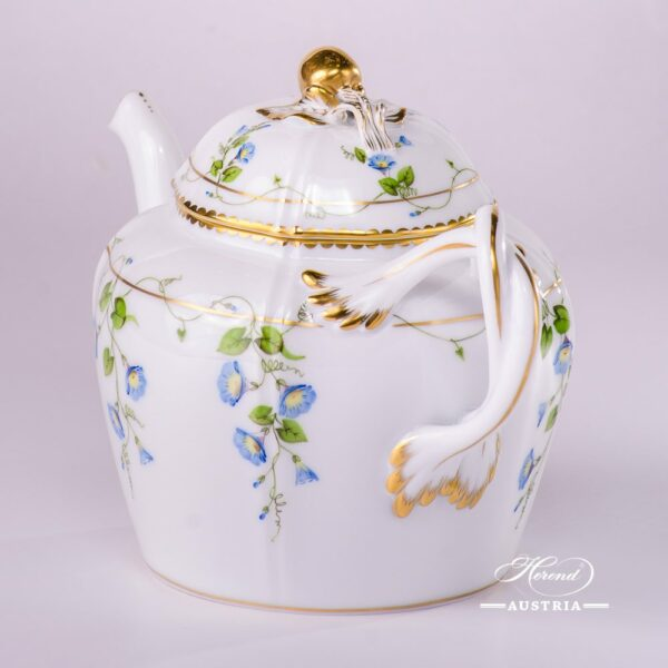 Tea Pot with Cherry Knob 4243-0-67 NY Nyon/Morning Glory design. Herend porcelain. Hand painted tableware. Tea Pot w. Double Handle