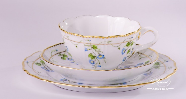 Tea Cup and Dessert Plate 4247-0-00 NY and 4249-0-00 NY Nyon/Morning Glory design. Herend porcelain. Hand painted tableware