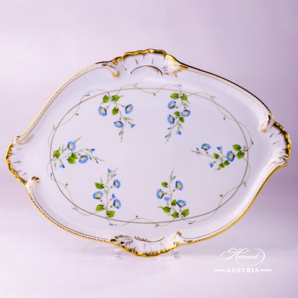 Platter - Shell Shaped  4250-0-00 NY Nyon / Morning Glory design. Herend porcelain. Hand painted tableware