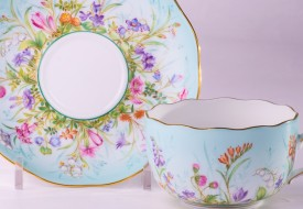 Tea Cup and Saucer 20724-0-00 QS Four Seasons pattern. Herend fine china. Hand painted tableware