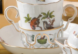 Couple of Birds-Rothschild Chocolate Cup and Saucer - Herend Porcelain