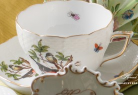 Couple of Birds-Rothschild Tea Cup and Saucer - Herend Porcelain