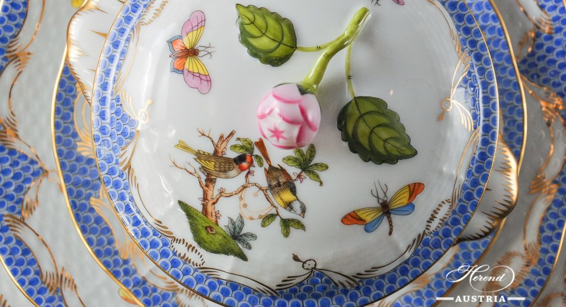 Couple of Birds Blue Fishnet-RO ETB Dinner Set - Herend Porcelain