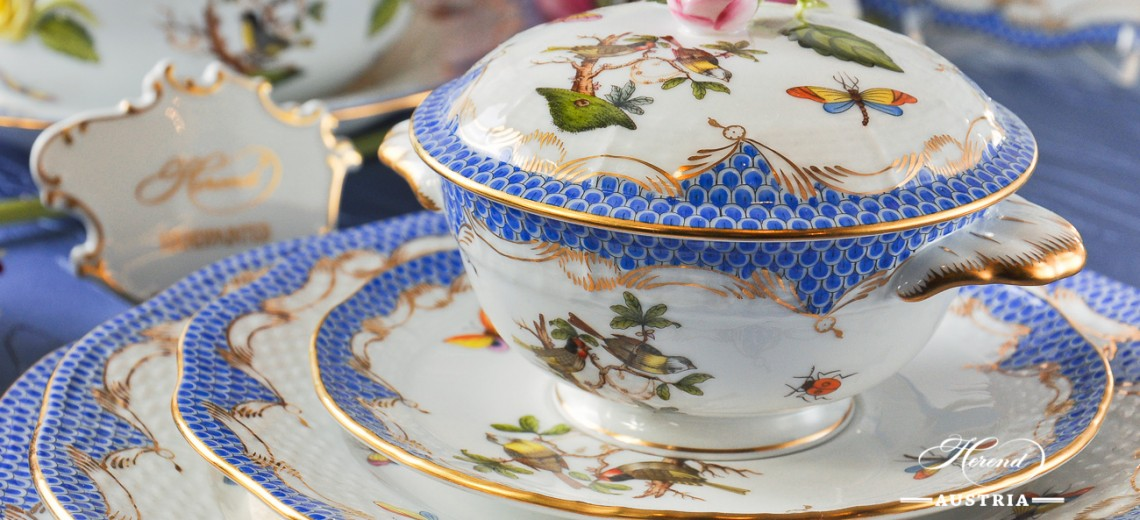 Couple of Birds Blue Fishnet-RO ETB Dinner Set - Herend Porcelain