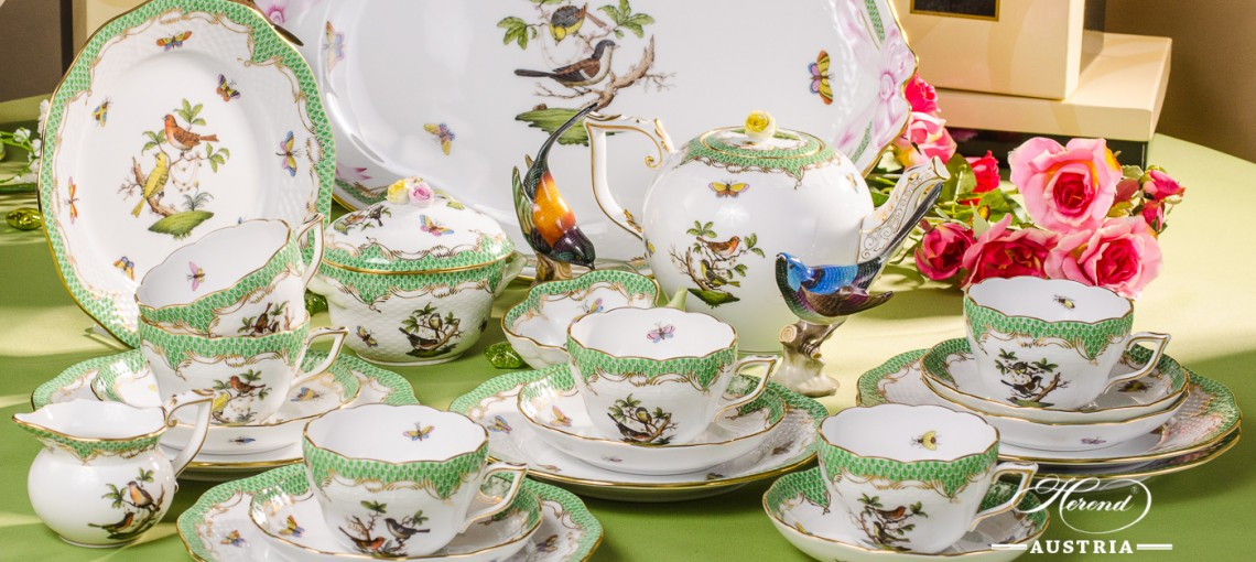 Tea Set for 6 Persons - Rothschild Bird Green Fish scale RO-ETV decor. Herend porcelain. Hand painted dinnerware