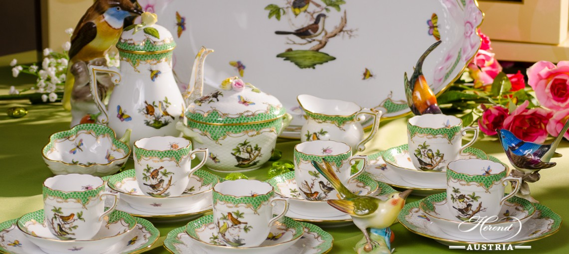 Coffee / Espresso Set for 6 Persons - Rothschild Bird Green Fish scale RO-ETV decor. Herend porcelain. Hand painted dinnerware