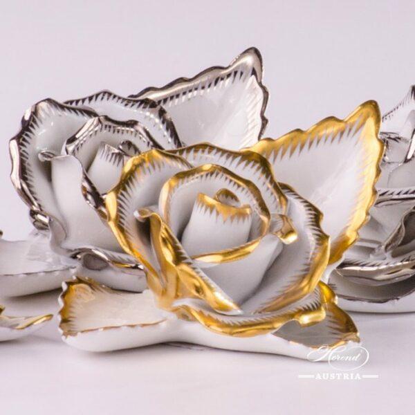 Herend Porcelain Rose on Leaf 8983-0-00-CD-OR-X1