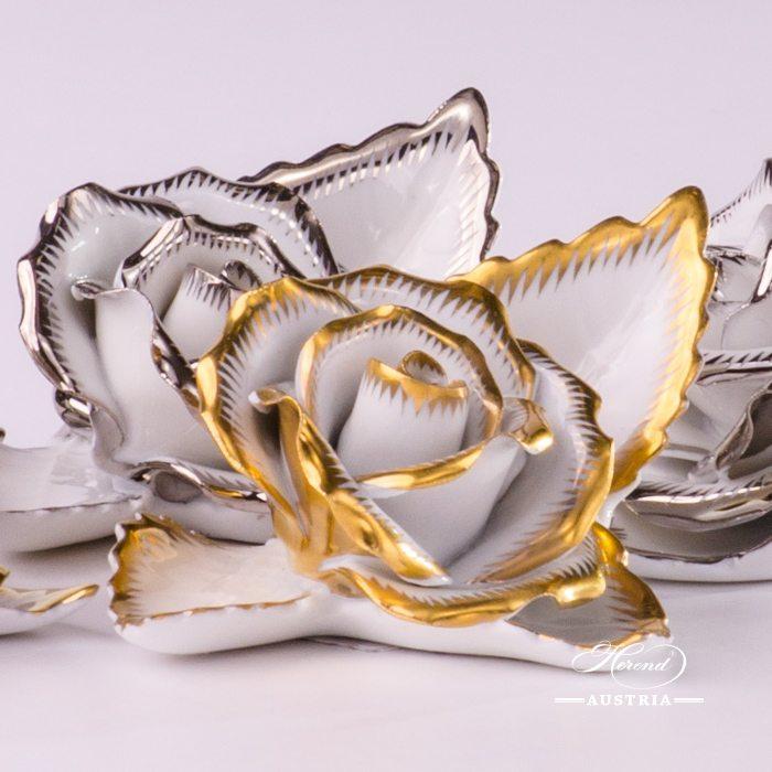 Rose on Leaf - 2 pieces - RichlyGilded