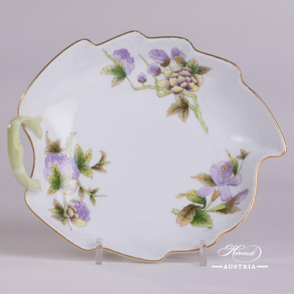 Leaf Dish w. Handle 203-0-00 EVICTF1 Royal Garden Green Flower pattern. Herend fine china hand painted. Tableware