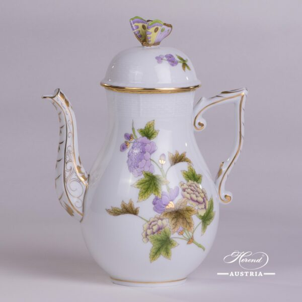 Coffee Potwith Butterfly Knob 613-0-17 EVICTF1 Royal Garden Green Flowerpattern. Herend fine chinahand painted. Tableware