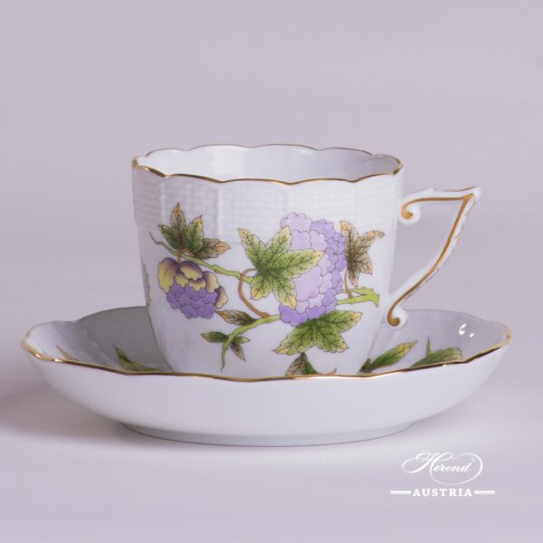 Coffee Cup and Saucer 706-0-00 EVICT1 and EVICTF1 Royal Garden Green patterns. Herend fine china hand painted. Tableware