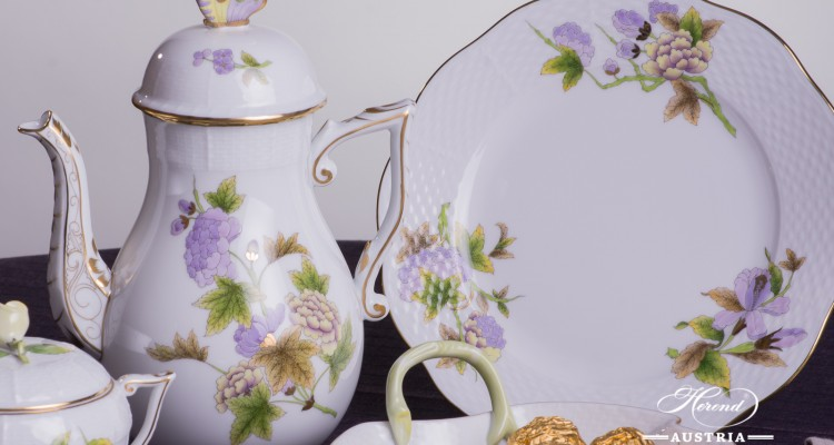 Coffee / Cappuccino Set for 2 Persons - Herend Royal Garden Green Flower EVICTF1 pattern. Herend fine china hand painted. Tableware