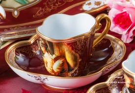 Beautiful Ladies Coffee Cup and Saucer - Herend Porcelain