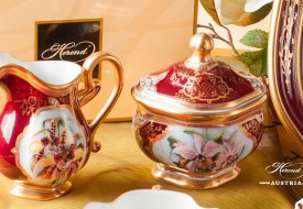 Orchid Creamer and Sugar Basin - Herend Porcelain