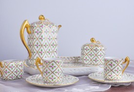 Sevres Roses-SPROG Coffee Set - Herend Porcelain