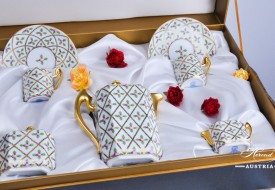 Coffee / Espresso Set for 2 Persons in Gift Box – Sevres Roses SPROG design. Herend porcelain. Hand painted tableware. Coffee Cup volume 0.6 dl (2 OZ)