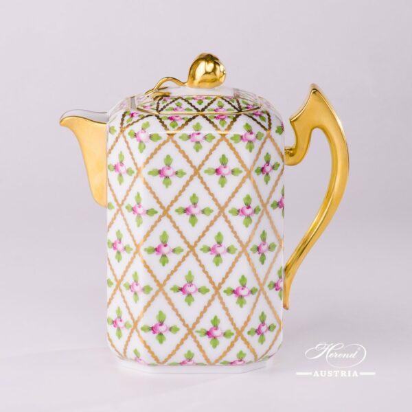 Coffee / Espresso Potwith Bud Knob 4472-0-12 SPROG Sevres Roses design. Herend porcelain. Hand painted tableware. Unique Empire porcelain form