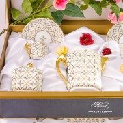 Sevres Roses SPROG Coffee Set for two Persons Herend Porcelain Gift Box