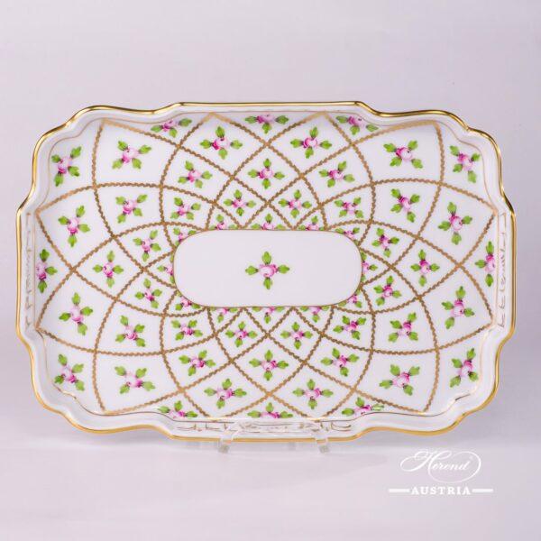 Tray - Open Work 7490-0-00 SPROG Sevres Roses design. Herend porcelain. Hand painted tableware. Unique Empire porcelain form