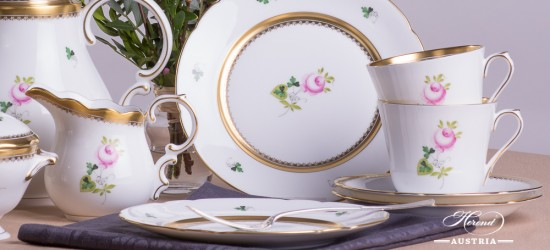 Tea Set for 2 Persons - Special Vienna Rose / Viennese Rose VRH-OR-X1 design. Herend fine china. Hand painted tableware