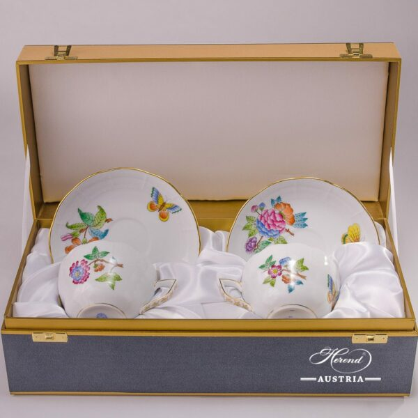 Tea / Coffee Cup and Saucer for 2 Persons - 730-0-00 VA Queen Victoria-A decor in Gift Box. Herend porcelain hand painted