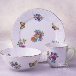 Breakfast Set for 1 Person - Queen Victoria-A design. Herend porcelain hand painted. Tableware