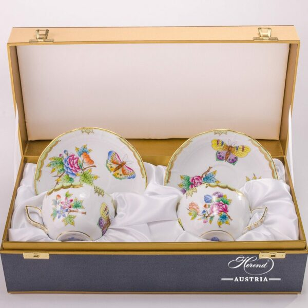 Tea / Coffee Cupand Saucer for 2 Persons - 730-0-00 VBO Queen Victoria decor in Gift Box. Herend porcelainhand painted