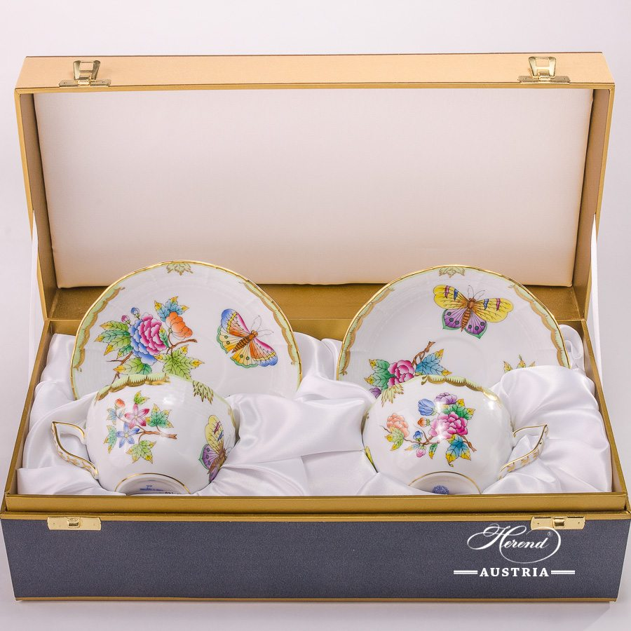 Tea / Coffee Cup and Saucer for 2 Persons - 730-0-00 VBO Queen Victoria decor in Gift Box. Herend porcelain hand painted