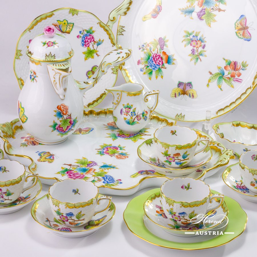 Coffee / Espresso Set for 6 Persons - Herend Queen Victoria VBO decor. Herend porcelain hand painted. Tableware