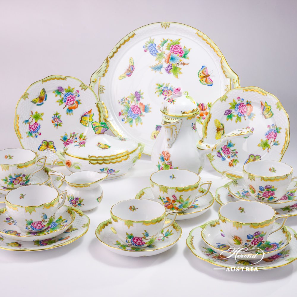 Coffee / Cappuccino Set for 6 Persons - Herend Queen Victoria VBO decor. Herend porcelain hand painted. Tableware. Coffee Cup 730-0-00 VBO