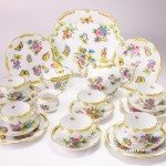 Tea Set for 6 Persons - Herend Queen Victoria VBO decor. Herend porcelain hand painted. Tableware. Tea Cup 730-0-00 VBO