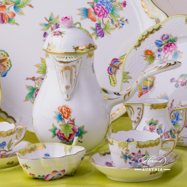 Coffee / Espresso Set for 2 Persons - Herend Queen Victoria VBO decor. Herend porcelain hand painted. Tableware. Coffee Cup 711-0-00 VBO