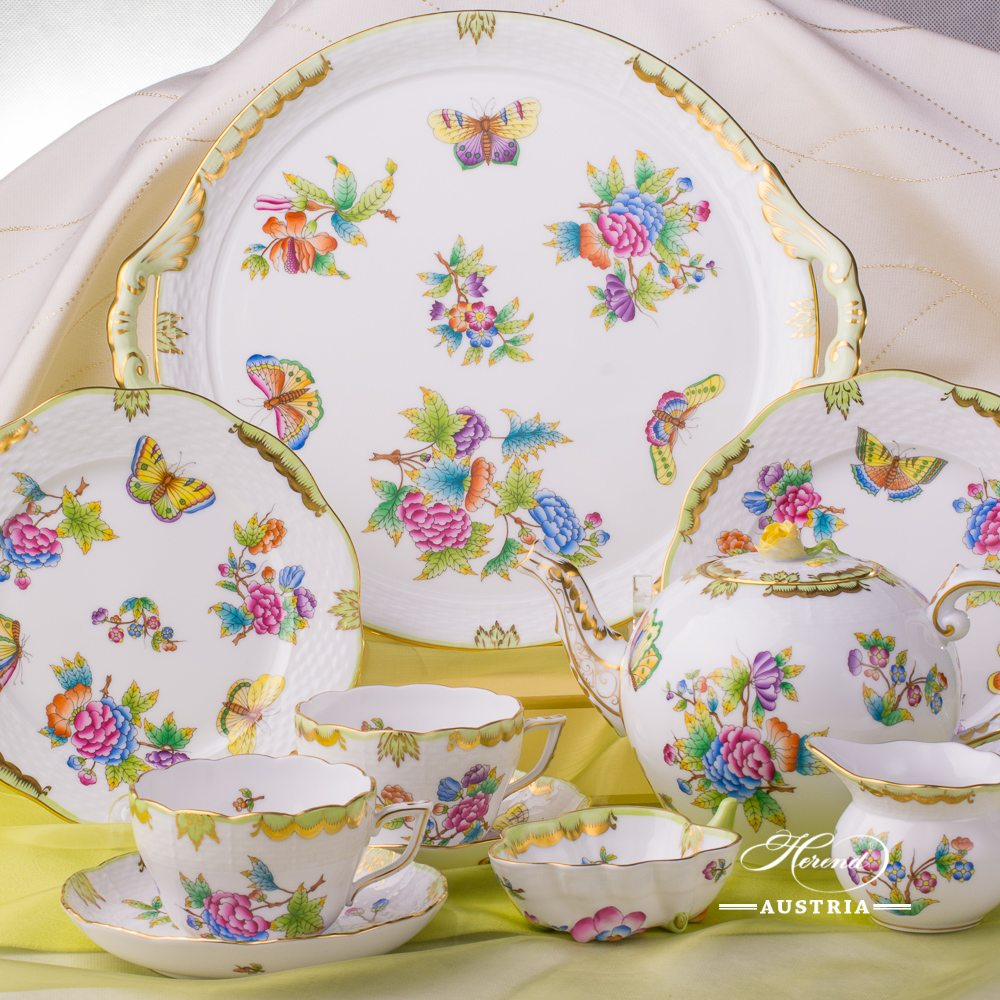Tea Set for 2 Persons - Herend Queen Victoria VBO decor. Herend porcelain hand painted. Tableware. Tea Cup 730-0-00 VBO