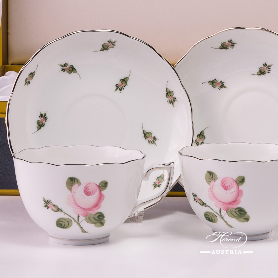 Tea Cup and Saucer for 2 Persons in Gift Box - Herend Vienna Rose Grand with Platinum VGR-PT pattern. Herend fine china hand painted. Tableware