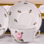 Tea Cup and Saucer for 2 Persons in Gift Box - Herend Vienna Rose Grandwith PlatinumVGR-PT pattern. Herend fine chinahand painted. Tableware