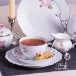 Tea Set for 2 Persons - Herend Vienna Rose Platinum VGR-PT and VR-PT patterns. Herend fine china hand painted. Tableware