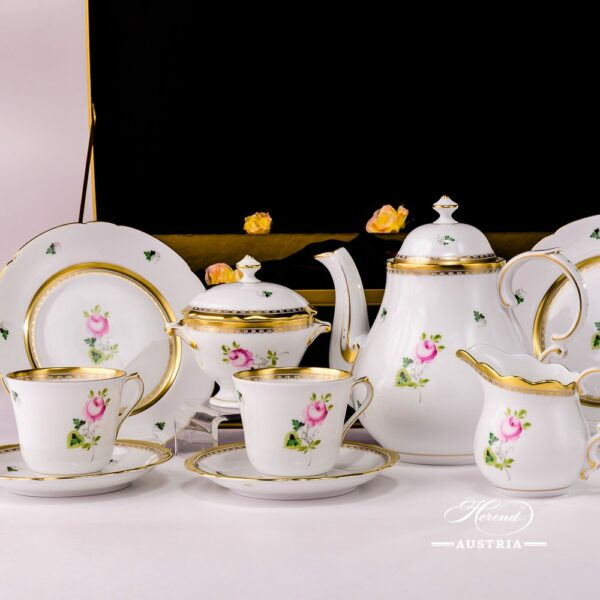 Tea Set for 2 Persons in Gift Box - Special Vienna Rose / Viennese Rose VRH-OR-X1 design. Herend fine china. Hand painted tableware